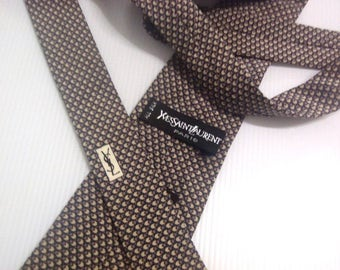 """Free Shipping"""" YSL Yves Saint Laurent Classic Silk Men's Necktie Geometric Made in Italy"""