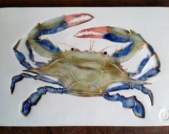 Blue Crab handmade ceramic tile trivet