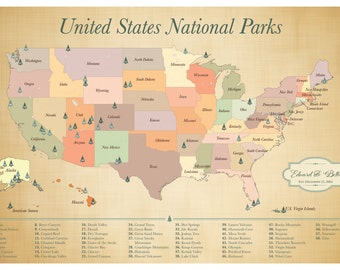 Us National Parks Map American Parks Map Explorer Map Print National Parks Poster