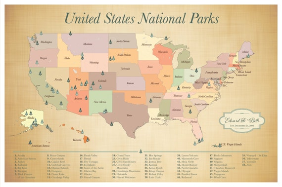 US National Parks Map American Parks Map Explorer Map Print - Map of national parks in united states