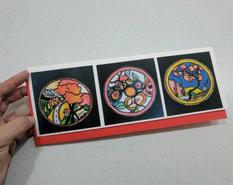 Hand made Greeting Card, Clarice Cliff Plates Inspired by Australian Artist