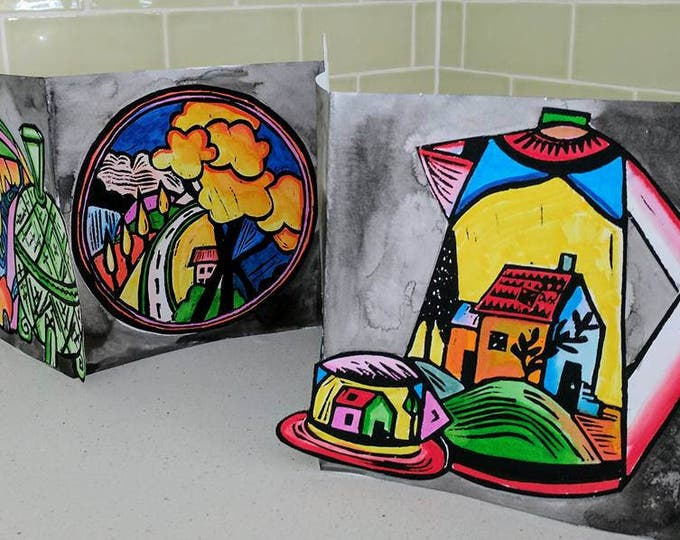 Featured listing image: My Collection 3, Original linocut Artist Book,  Clarice Cliff Inspired by Australian Artist Samantha Thompson