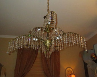 Absolutely Stunning Vintage Hollywood Regency 60's Spain Antique Brass Crystal Chandelier , 6 Arm  Decorated Fern , 780 crystal prisms