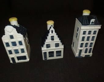 Set of 3 KLM Delft Houses , Bols , Decanters, Numbers 72,73,74