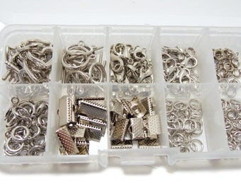 Silver Jewelry Findings Set Organizer 10 mixed Assortment of sizes Jewelry supplies Wholesale Findings Make Jewelry Kit lobster claw clasps