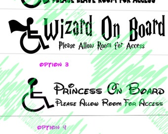 Superhero Princess Wizard on Board Car Decal, leave room Wheelchair, Sticker, Superfriends, Special Needs, Disability, Handicap Window Decal