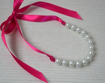 14mm pearl necklace,Ribbon Ties necklace,rose ribbon necklace, large pearl necklace,big white pearl with rose Ribbon ,Glass Pearl Necklace