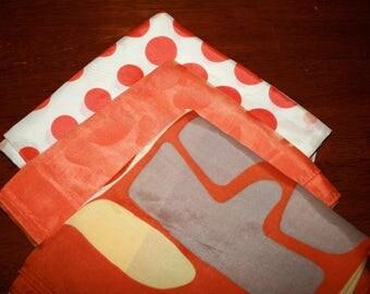 Vintage Orange Scarves, Vintage Tangerine Scarves, Three Vintage Scarves, Polka Dot Orange Scarf, Sheer Orange Scarf, Abstract Orange Scarf