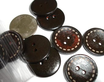 Wooden Buttons Brown Buttons 16 wood buttons dark buttons wood buttons bag of buttons dark wood buttons large wood buttons traditional style