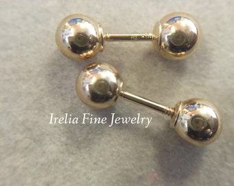 4 mm 14k Yellow Gold Ball Stud Earrings Standard Weight with ball backs  Reversible  --Ready to Ship--