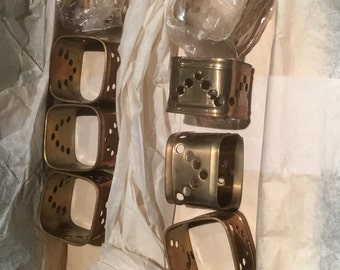 Vintage 8 Brass Napkin Rings Never Used