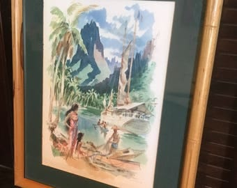 Vintage Original Tahiti Watercolor