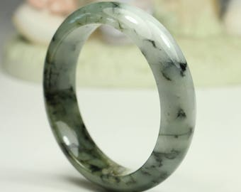 Jadeite Jade Bangle - 54mm Brownishg Green White and Black (Grade A Jade)