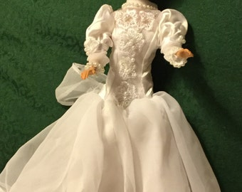 Vintage Satin Barbie Wedding Gown, Nylon Tulle Overskirt, Pearls and Flowers, High Neck, Long Puff Sleeves, Empire Waist, Barbie Gown