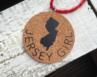 New Jersey Christmas Ornament - Cork Ornament - NJ Decoration - New Jersey Gift - Jersey Girl Christmas Gift - Holiday Gift - NJ Ornament