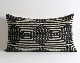 Black and white scandinavian decor pillow cover // handwoven silk velvet ikat pillows lumbar cushion // black velvet pillow