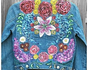 Embellished KIDS Jacket Coat *FLOWER PARTY* Boho 8-10Y