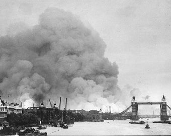 Bombed out buildings, London, WWII, 1940, Thames River, London Blitz, England