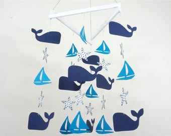 Whale Baby Mobile, Nautical Nursery, Nursery Decor, Nursery Mobile, Whale and Sailboat Mobile, Whale and Sailboat Nursery