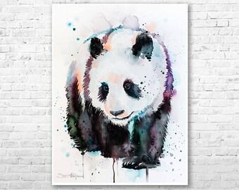 Panda watercolor painting print by Slaveika Aladjova, art, animal, illustration, home decor, Nursery, gift, Wildlife, wall art