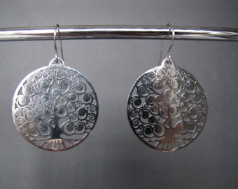 Large Tree of Life Disc Stainless Steel Earrings