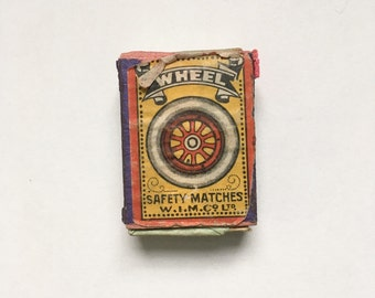 Antique The Wheel design matchbox - antique little trinket box, gift box, car, truck, van, letterpress tray, vintage tobacciana