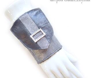 Leather | Women's Wallet | Wrist | Cuff | Wallet | Wrist Wallet | Wallet Cuff | Black | Silver | Rhinestone Buckle