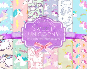 "Unicorn digital paper : ""Sweet Unicorns"" unicorn digital backgrounds for scrapbooking, unicorn patterns, unicorn digital paper pack"