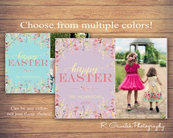 Happy Easter Floral Greeting Card | Easter Photo Card | Printable Easter Card with Photo | Happy Spring Watercolor Floral | Custom Cards