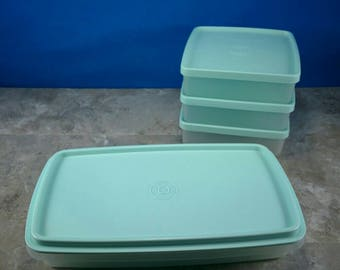Vintage Sea Foam Green Tupperware Sandwich and Snack Containers - 4 Containers with Lids