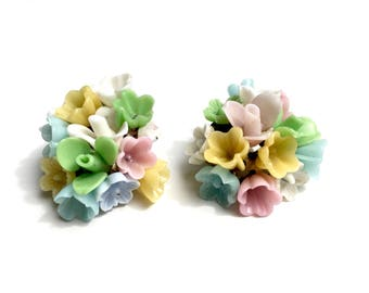 Delicate 1950s pastel floral glass earrings with clip-on backs