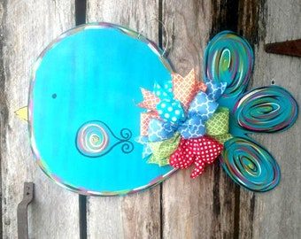 Spring Bird Door Hanger by ReLoved Treasure, hand painted door hanger