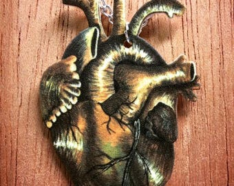 Vintage Anatomical Paganistic Gothic Heart Illustrated Handmade Necklace