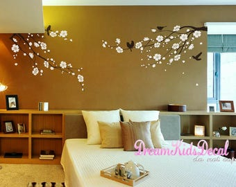 Cherry Blossoms Tree Wall Decal, Cherry Branch Wall Sticker for Home Decor, Floral Branch Decal with birds, Birdcage-DK130