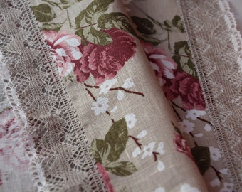 "Romantic Linen Kitchen Towel ""Roses"" with Linen Lace - Made in Latvia"