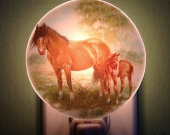 Horse, Farm, Fused Glass, Night Light, Nightlight, Brown, Farm, Farm Animal, Horse Farmer, Western, Ranch