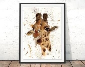 Giraffe Art Print, Giraffe Illustration, Giraffe Wall Art, Giraffe Poster, Giraffe Painting Framed Print, Safari Print Africa by Katherine