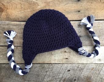 Earflap Hat, Baby Ear Flap Hat, Solid Ear Flap Earflap Hat, Kids Winter Hat - ANY COLOR Crochet Baby Hat with Ear Flaps, Girl Hat, Boy Hat