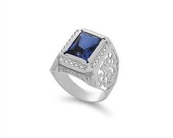 14k solid white gold men's blue corundum stone ring. fancy ring