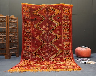 Red Berber Rug 5.2ft x 8.7ft old authentic red and yellow moroccan rug