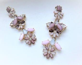 Statement earrings nude earrings pink gold