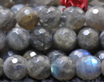 62 Pcs of A Grade--Natural Labradorite faceted round beads in 6mm (05341#)