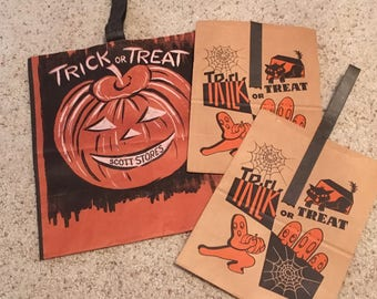 Antique Trick or Treat Halloween Bags