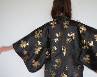 Black and gold silk vintage kimono robe with bamboo print