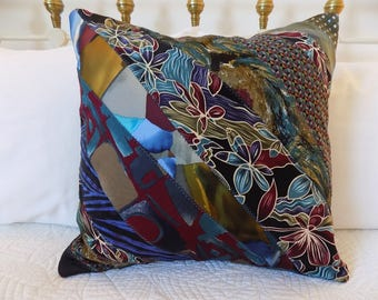 Tie Pillow *ON SALE* Decorative Necktie Throw Pillow Upcycled Silk Ties Pillow  Pillow Cover Blue Red Green Pillow