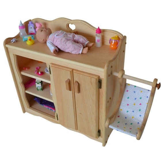 Items similar to natural dolly 39 s changing table wooden for Toy kitchen table