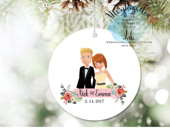 Christmas Ornament Personalized Ornament, 1st Christmas Ornament, Portrait Ornament Christmas Gift, Wedding Ornament, Wedding Gift for bride