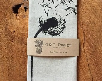 Dandelion Screen Printed onto 100% Natural Linen Tea Towel, Hostess Gift