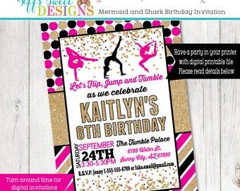 Pink and Gold Gymnastics Invitation - Gymnast Birthday Party - Acrobat Invite - Printable