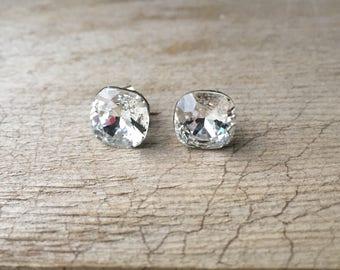 Square Clear Swarovski Rivoli Crystal Post Earrings 10mm